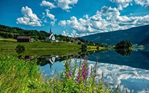 Fotos Norwegen Gebirge Kirche Wolke Ulnes