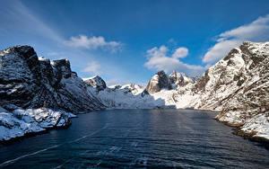 Bilder Norwegen Gebirge Felsen Fjord Djupfjorden