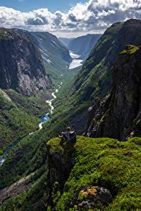 Fotos Norwegen Berg Felsen Wolke Ein Tal Hjelmeland