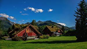 Fotos Norwegen Gebirge Haus Sommer  Natur