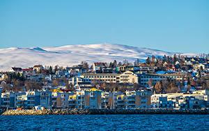 Bilder Norwegen Berg Gebäude Schnee Tromso