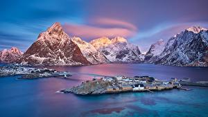 Bilder Norwegen Berg Insel Brücke Morgendämmerung und Sonnenuntergang Lofoten Islands Natur