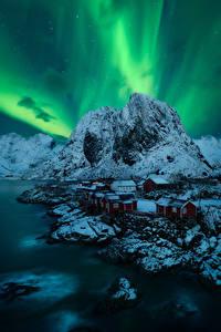 Fotos Norwegen Gebirge Lofoten Nordlicht