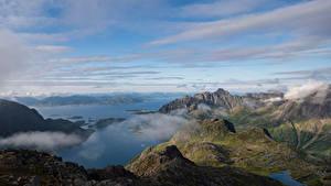 Hintergrundbilder Norwegen Berg Lofoten Wolke Fjord