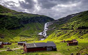Bilder Norwegen Berg Lofoten Wolke Bach