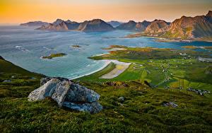 Hintergrundbilder Norwegen Gebirge Lofoten Küste Bucht Ryten Natur