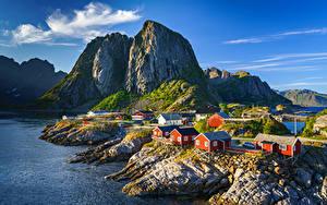 Hintergrundbilder Norwegen Berg Lofoten Gebäude Felsen  Natur
