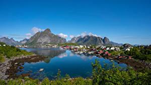 Fotos Norwegen Berg Lofoten Gebäude Reine Natur