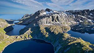 Fotos Norwegen Berg Lofoten See Reine