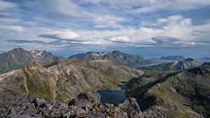 Fotos Norwegen Gebirge Lofoten Wolke Fjord Laukvik