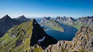 Fotos Norwegen Gebirge Lofoten Fjord Munken Natur