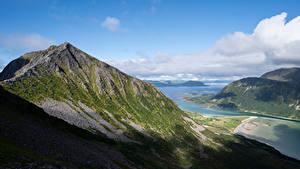 Fotos Norwegen Gebirge Lofoten Wolke Fjord Sandsfjellet