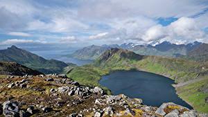 Bilder Norwegen Berg Lofoten Landschaftsfotografie See Wolke  Natur