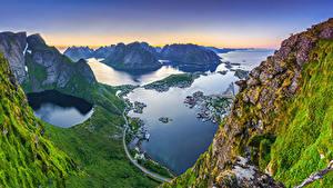 Bilder Norwegen Berg Lofoten Meer Von oben Felsen Bucht Reinebringen, Reine Natur
