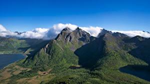 Bilder Norwegen Gebirge Lofoten Wolke Stauren
