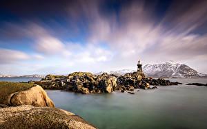 Hintergrundbilder Norwegen Berg Lofoten Steine Leuchtturm Wolke Gravdal