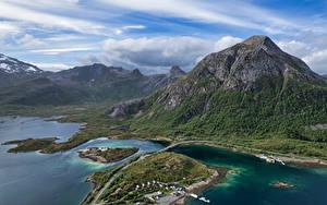 Hintergrundbilder Norwegen Gebirge Lofoten Wolke Von oben Vestpollen Natur
