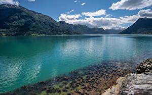 Bilder Norwegen Berg Wolke Lustrafjorden, fjord
