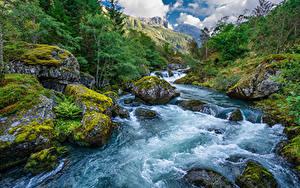 Bilder Norwegen Berg Parks Flusse Steine Laubmoose Folgefonna National Park