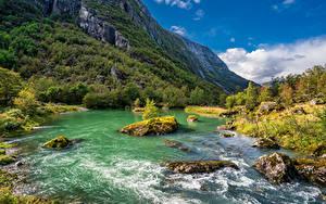Bilder Norwegen Berg Park Fluss Steine Bäume Folgefonna National Park