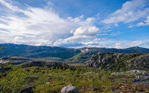 Bilder Norwegen Berg Park Steine Wolke Rago National Park