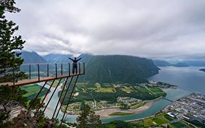 Hintergrundbilder Norwegen Berg Fluss Wolke Von oben Trollveggen