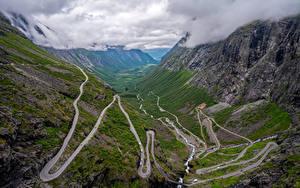 Bilder Norwegen Gebirge Wege Wolke Von oben Trollstigen