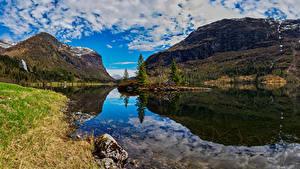 Bakgrunnsbilder Norge Fjell Landskapsfotografering Skyer Fjord Hardanger