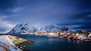Fotos Norwegen Berg Meer Gebäude Lofoten Schnee Natur