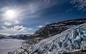 Hintergrundbilder Norwegen Gebirge Himmel Felsen Schnee Sonne Austerdalsisen Glacier