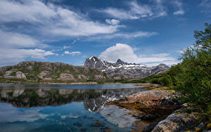 Hintergrundbilder Norwegen Gebirge Himmel Felsen Wolke Jektvik