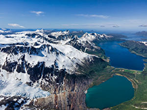 Bilder Norwegen Berg Himmel Schnee Von oben Fjord Kilvik