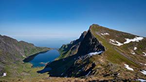 Fotos Norwegen Gebirge Himmel Lofoten Djupfjorden