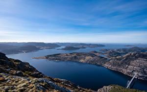 Hintergrundbilder Norwegen Gebirge Himmel Fjord Von oben Rogaland Natur