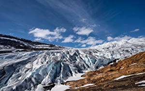 Hintergrundbilder Norwegen Gebirge Himmel Eis Felsen Svartisen Glacier