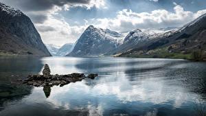 Fotos Norwegen Berg Wolke Fjord Sogn og Fjordane Natur