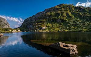 Fotos Norwegen Gebirge Stein Felsen Hardangerfjord