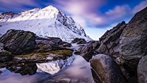 Bilder Norwegen Gebirge Steine Lofoten Storsandnes
