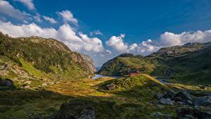 Fotos Norwegen Gebirge Stein Himmel Felsen Wolke Hardangerfjord