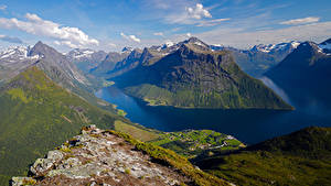 Fotos Norwegen Gebirge Wolke Fjord Sunnmore Natur