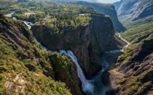 Fotos Norwegen Berg Wasserfall Felsen Bäume