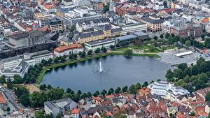 Images Norway Pond Fountains Houses Bergen From above Hordaland Cities