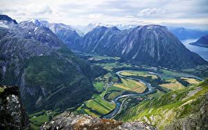 Hintergrundbilder Norwegen Landschaftsfotografie Berg Fluss Romsdalseggen Ridge Natur