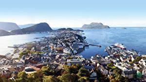 Desktop wallpapers Norway Sea Coast Ships Marinas Horizon Cities