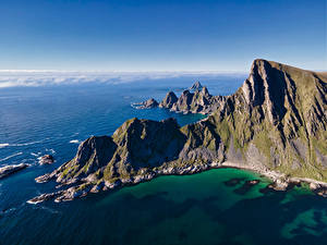 Hintergrundbilder Norwegen Meer Berg Küste Lofoten Felsen