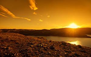 Hintergrundbilder Norwegen Sonnenaufgänge und Sonnenuntergänge Flusse Himmel Sonne