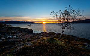 Bilder Norwegen Sonnenaufgänge und Sonnenuntergänge Flusse Küste Sonne