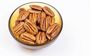 Hintergrundbilder Nussfrüchte Weißer hintergrund Schüssel pecan Lebensmittel