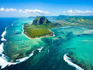 Fotos Ozean Insel Gebirge Himmel Von oben Mauritius