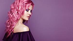 Hintergrundbilder Haar Frisuren Farbigen hintergrund Make Up Oleg Gekman junge Frauen